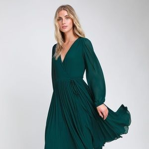 Lulu's First Impression Pleated Midi Wrap Dress